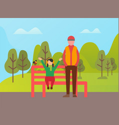 people walking in park trees and clouds vector image