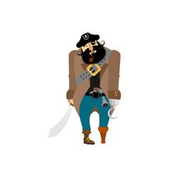pirate sad filibuster melancholy buccaneer vector image