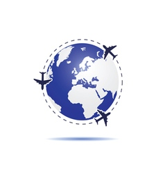 planet earth with airplane blue vector image