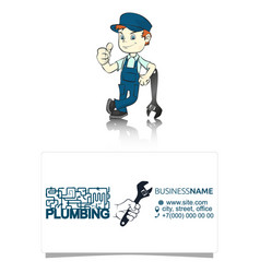 Plumber with a wrench vector