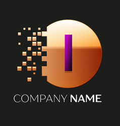 Purple letter i logo symbol in golden pixel circle vector