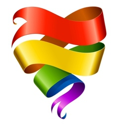 rainbow ribbon in the shape of heart vector image