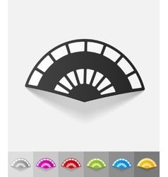 Realistic design element folding fan vector