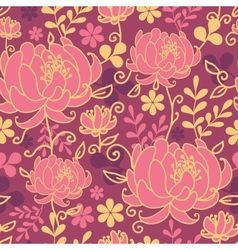 Red flowers and leaves seamless pattern background vector image