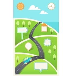 Road and Hills with Signs Infographic Template vector image