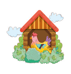 Rooster bird farm in the wooden house vector