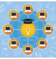 School online e-learning connection concept vector