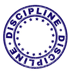 Scratched textured discipline round stamp seal vector