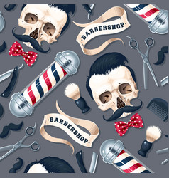 Seamless pattern with barber shop supplies vector
