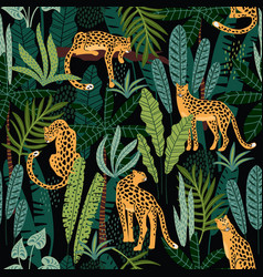 Seamless pattern with leopards and tropical vector