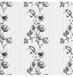 Seamless pattern with twigs flowers and leaves vector