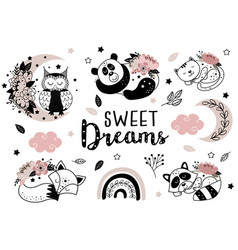 set isolated sleeping animals with flowers vector image
