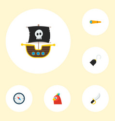 Set of pirate icons flat style symbols with ship vector