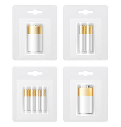 set of realistic battery types in blister vector image