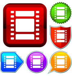 Set shiny icon series on buttons photo frame vector