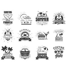 set summer season labels in vintage vector image