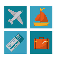 set travel plane ticket suitcase ship design vector image