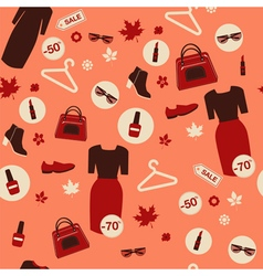 shopping autumn sale seamless pattern vector image