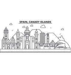 Spain canary islands architecture line skyline vector