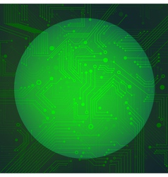 Sphere circuit over green background vector image