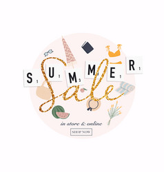 summer sale banner template poster flyer slices vector image