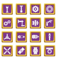 Techno mechanisms kit icons set purple vector