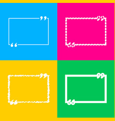 text quote sign four styles of icon on four color vector image