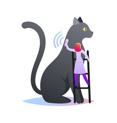 tiny female character stand on ladder put collar vector image