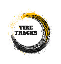 Tire track in circle style vector