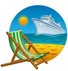 Tropical beach icon vector