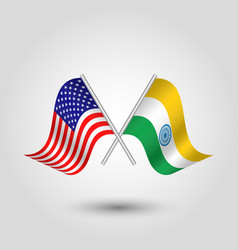 Two crossed american and indian flags vector