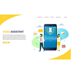 voice assistant website landing page design vector image