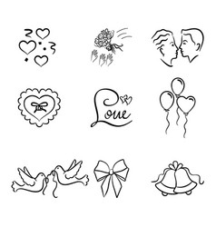 Wedding art icons element collection vector