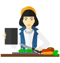 Woman cooking meal vector image
