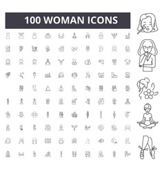 woman line icons signs set outline vector image