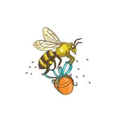 Bee carrying honey pot drawing vector
