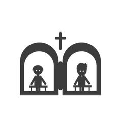 Flat icon in black and white style confession vector