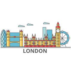 london city skyline buildings streets vector image