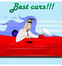 Businessman in a red car vector image vector image