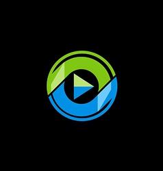 play button media technology logo vector image