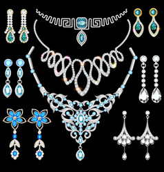 set of jewelry made of silver gold and precious vector image vector image