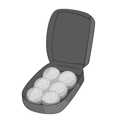 Bag for golf balls icon gray monochrome style vector