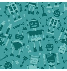 Cute retro robots silhouette background vector image vector image