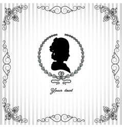 Gray background with black silhouette of lady vector image