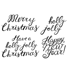Hand drawn Cristmas lettering set vector image