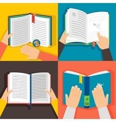 Hands holding books vector image vector image