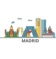 madrid city skyline buildings streets vector image vector image