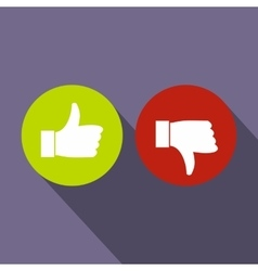 Thumbs up and down icon flat style vector image vector image