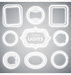 White Neon Lights Frames vector image