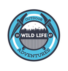 wildlife adventures vintage isolated badge vector image vector image
